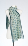 Banaris Merino & Silk Stole With Star-Lily Print - Lime SOLD OUT