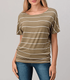 Natural Life Short Sleeve Dolman Tee - Striped Olive