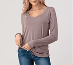 Natural Life V Neck Long Sleeve Tee - Taupe (Size M) - SOLD OUT
