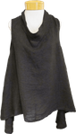 Tina Stephens Alanna Sleeveless Washed Linen A-Line Roll Neck Top - Black