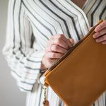C. Beautifully Emily Leather Clutch - Brown