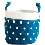 Maika Small Recycled Canvas Bucket - Navy Dots