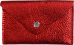 Crystalyn Kae Up-Cycled Leather Card Case Wallet - Metallic Red