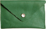 Crystalyn Kae Up-Cycled Leather Card Case Wallet - Green