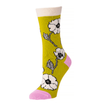Little River Etched Poppies Crew Sock - Fern