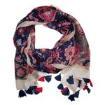 Chloe & Lex Pari Floral Cotton Scarf - Pink and Navy