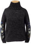 People Tree Flower Jacquard Jumper - Charcoal (Size M)