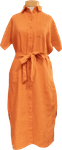 People Tree Leanora Linen Dress - Amber (Size M)