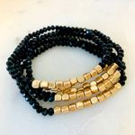 Pretty Simple 5 Strand Stone and Gold Bracelet Stack - Black SOLD OUT