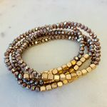 Pretty Simple 5 Strand Stone and Gold Bracelet Stack - Mocha - SOLD OUT