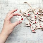 HandyHappy Rustic White Dove Ornaments - Red Heart