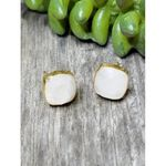 Sosie Vermeil Gold Cushion Rainbow Moonstone Studs - Moonstone- SOLD OUT