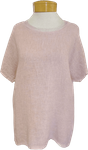 Tina Stephens Tessa Short Sleeve Woven Front Sparkle Neck T-Shirt - Blush -  SOLD OUT