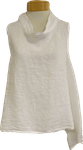 Tina Stephens Alanna Sleeveless Washed Linen A-Line Roll Neck Top - White