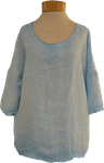 Tina Stephens Amia 3/4 Sleeve Washed Cotton/Linen Tee - Turquoise - SOLD OUT