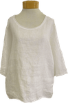 Tina Stephens Amia 3/4 Sleeve Washed Cotton/Linen Tee  - White - SOLD OUT