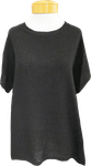 Tina Stephens Tessa Short Sleeve Woven Front Sparkle Neck T-Shirt - Black - SOLD OUT