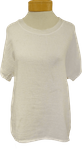 Tina Stephens Tessa Short Sleeve Woven Front Sparkle Neck T-Shirt - White  - SOLD OUT