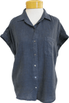 Velvet Emerson Short Sleeve Button Up Top - Shadow - SOLD OUT