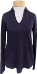 Velvet Ruth Collar Long Sleeve Top - Ink (Size XS)