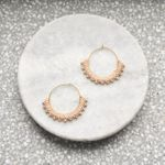 Wool & Moon  Creole Gold Plated Earrings - Blush