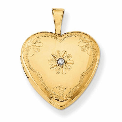1/20 Gold Filled With Diamond 2-frame 15mm Heart Locket Qls104
