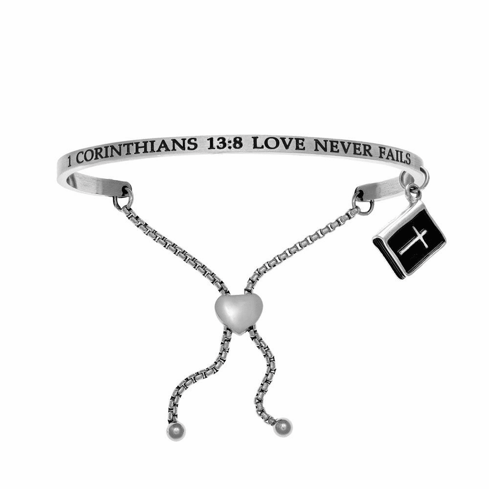 1 Corinthians 13:8 Love Never Fails Bangle - Stainless Steel