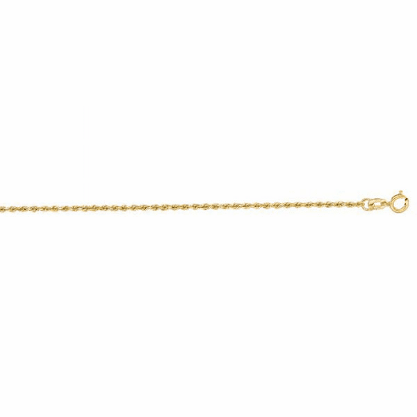 "10K 10"" Yellow Gold 1.25mm Diamond Cut Rope Chain Anklet"