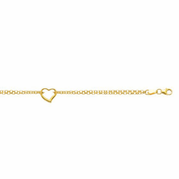 "10K 10"" Yellow Gold 10"" Double Rolo Chain Anklet/1 Station Open Heart"