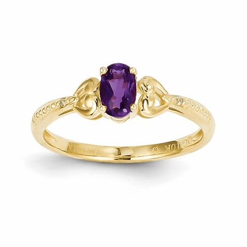 10k Amethyst Diamond Ring 10xb275