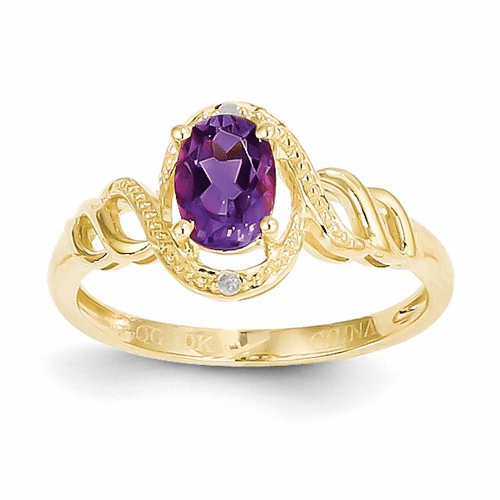 10k Amethyst Diamond Ring 10xb299