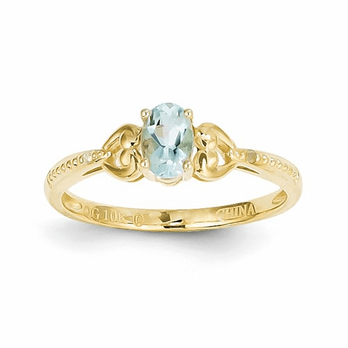 10k Aquamarine Diamond Ring 10xb276