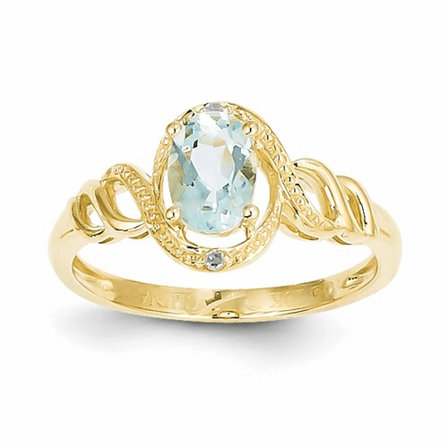 10k Aquamarine Diamond Ring 10xb300