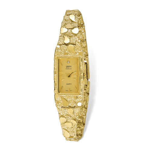 10k Champagne 15x31mm Dial Rectangular Face Nugget Watch 10n261y-7