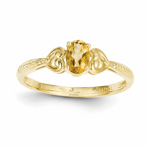 10k Citrine Diamond Ring 10xb284