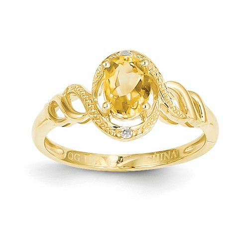 10k Citrine Diamond Ring 10xb308