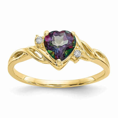 10k Heart Mystic Fire Topaz & .01ct Diamond Ring 10x57