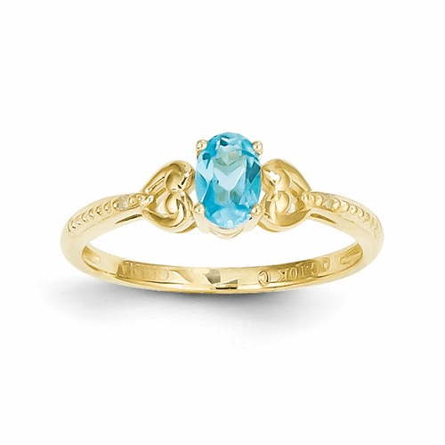 10k Light Swiss Blue Topaz Diamond Ring 10xb285