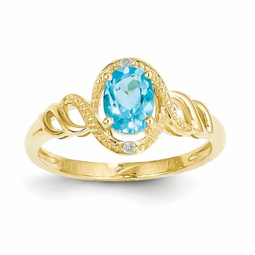 10k Light Swiss Blue Topaz Diamond Ring 10xb309