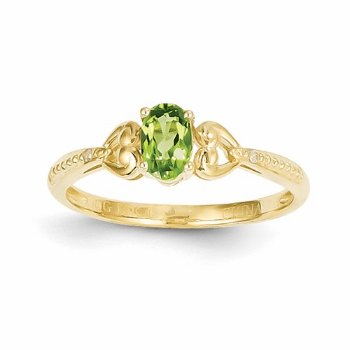 10k Peridot Diamond Ring 10xb281