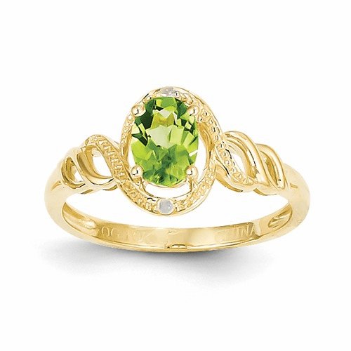 10k Peridot Diamond Ring 10xb305