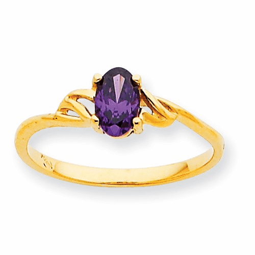 10k Polished Geniune Amethyst Birthstone Ring 10xbr131