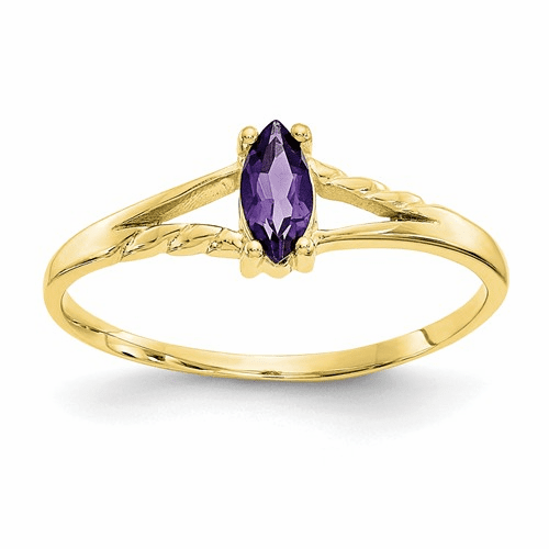 10k Polished Geniune Amethyst Birthstone Ring 10xbr179