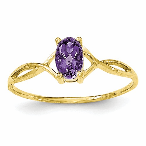 10k Polished Geniune Amethyst Birthstone Ring 10xbr227