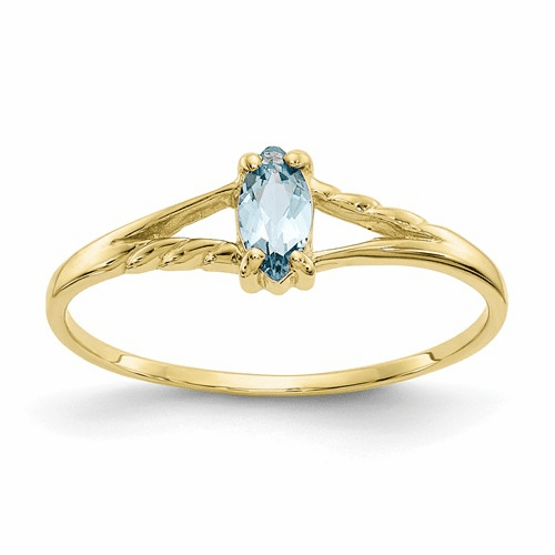 10k Polished Geniune Aquamarine Birthstone Ring 10xbr180