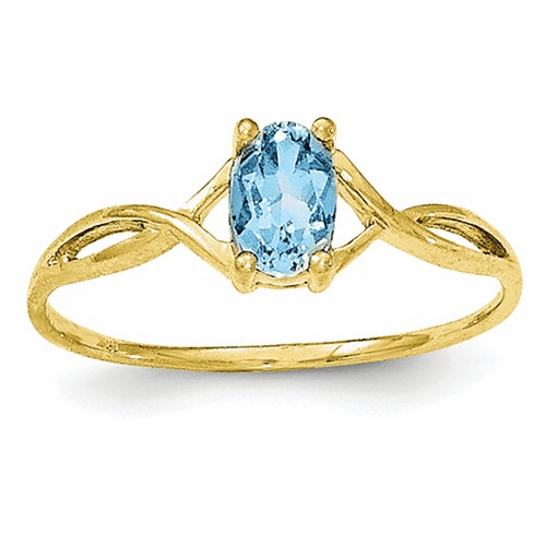 10k Polished Geniune Blue Topaz Birthstone Ring 10xbr237