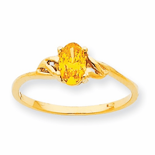 10k Polished Geniune Citrine Birthstone Ring 10xbr140