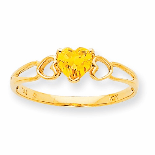 10k Polished Geniune Citrine Birthstone Ring 10xbr164