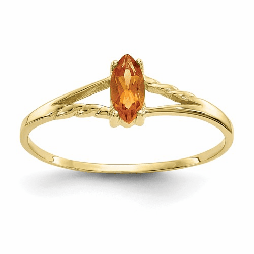 10k Polished Geniune Citrine Birthstone Ring 10xbr188