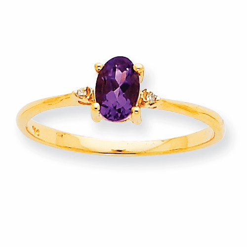 10k Polished Geniune Diamond & Amethyst Birthstone Ring 10xbr203